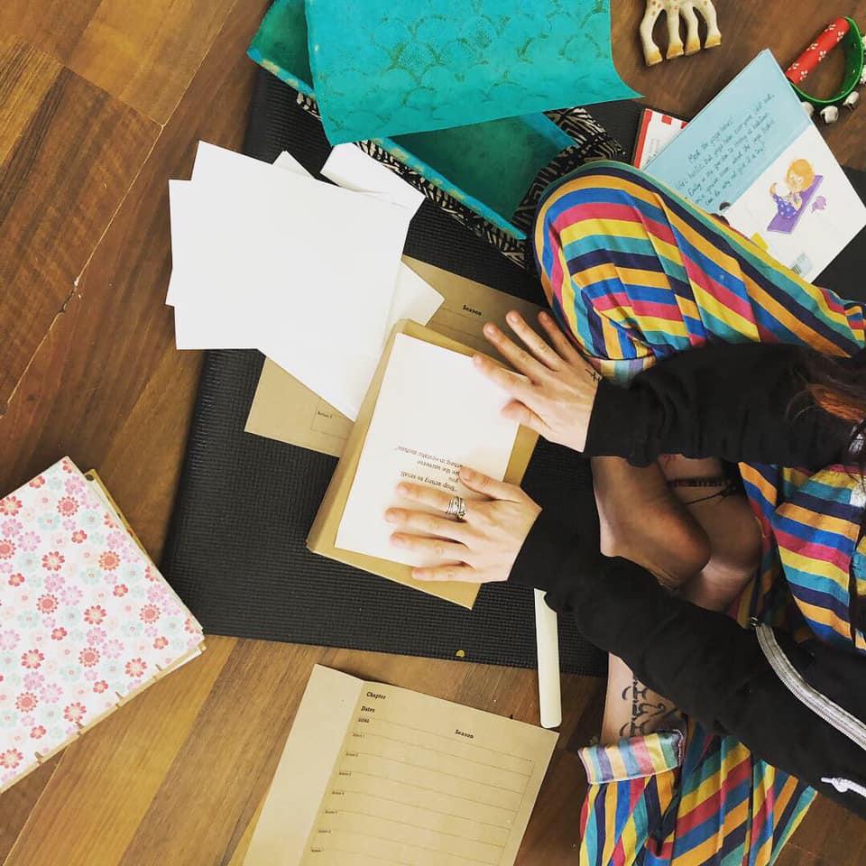 making books on yoga mats lovely stripey pants